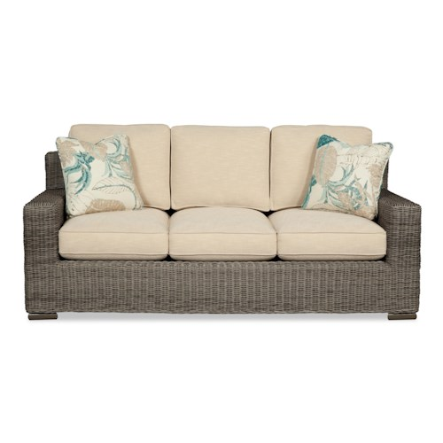 Craftmaster 750700 Coastal Wicker-Framed Sofa Sleeper with Air Dream Mattress