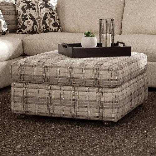 Craftmaster 751100 Square Storage Ottoman with Casters