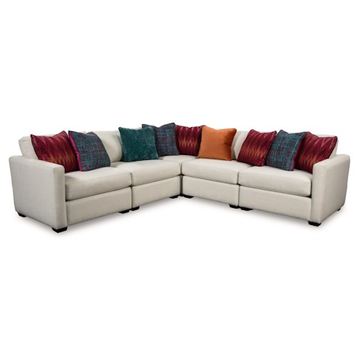 Cozy Life 751100 Five Piece Corner Sectional Sofa with Toss Pillows