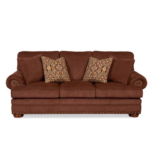Craftmaster 754250 Sofa with Exposed Wooden Legs and Nail Head Accent