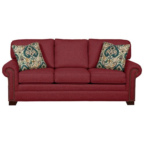 Cozy Life 756500 Transitional Sleeper Sofa with Large Rolled Arms and Brass Nailheads