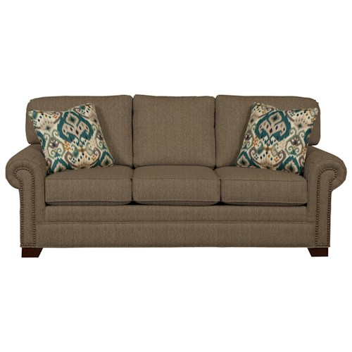Cozy Life 756500 Transitional Sleeper Sofa with Brass Nailheads and Memory Foam Mattress