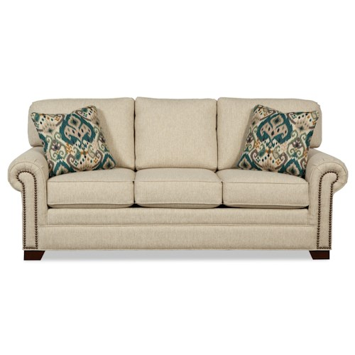 Craftmaster 756500 Transitional Sofa with Large Rolled Arms and Brass Nailheads