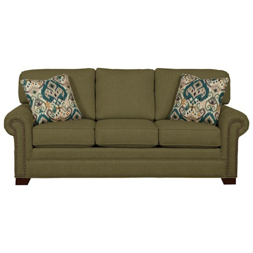 Cozy Life 756500 Transitional Sofa with Large Rolled Arms and Brass Nailheads