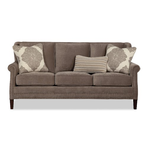 Craftmaster 757100-757200 Transitional Sofa with Dark Brass Nails