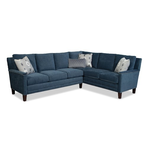 Cozy Life 759700-759800 Two Piece Sectional Sofa w/ RAF Return and Pewter Nails