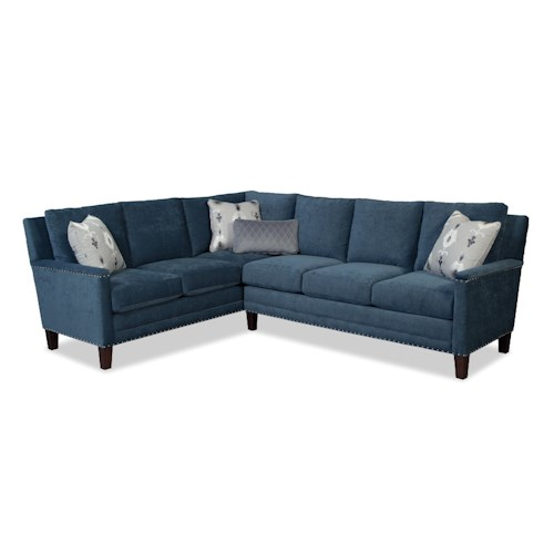Craftmaster Elsa Two Piece Sectional Sofa w/ LAF Return and Pewter Nails
