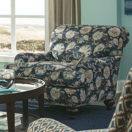 Cozy Life 766700 Traditional Chair with Brass Nailhead Studs and Rolled Back
