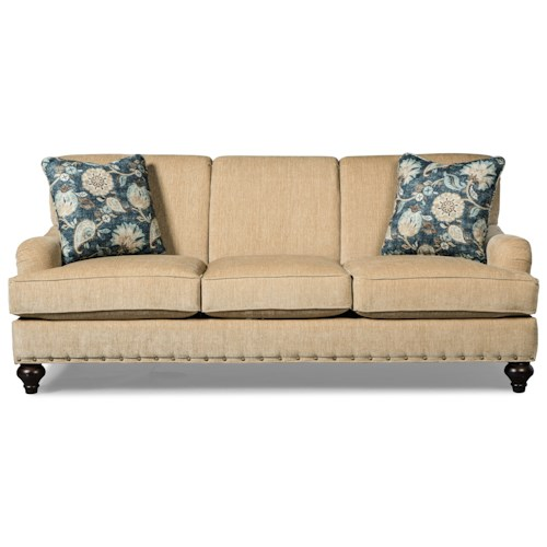 Craftmaster 766700 Traditional Sofa with Brass Nailhead Studs and Rolled Back