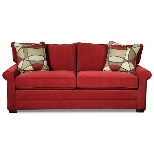 Craftmaster 767800 Casual Sofa with Rolled Arms and Toss Pillows
