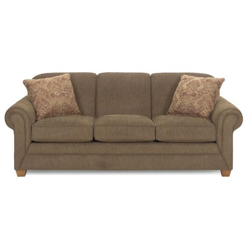 Morris Home Furnishings 7705 Sofa with Rolled Arms and Exposed Wood Feet