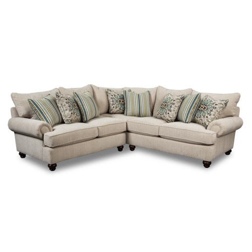 Cozy Life Westgate Two Piece Sectional Sofa with Turned Wood Feet