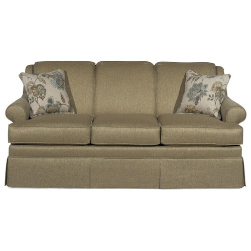 Craftmaster 920550 Traditional Stationary Sofa with Rolled Arms and Skirt