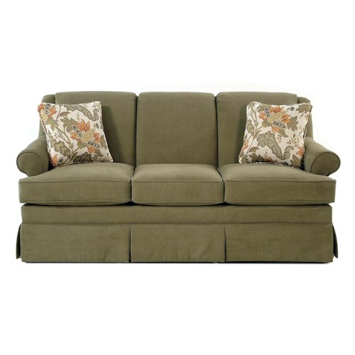 Cozy Life Audrey Traditional Stationary Sofa with Rolled Arms and Skirt