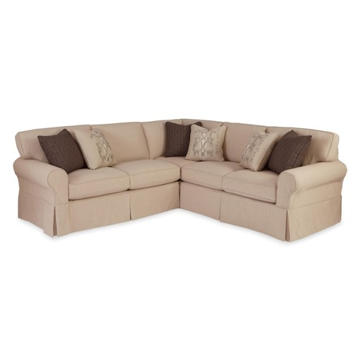 Craftmaster 922800 Two Piece Slipcovered Sectional Sofa with RAF Return Sofa