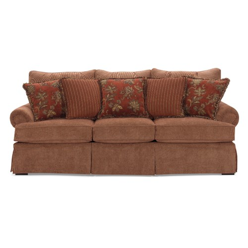 Cozy Life 9276 Sofa with Loose Back Pillows, Rolled Arms, and Skirt