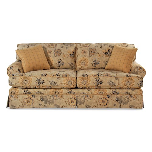 Cozy Life Contessa Casual Skirted Sofa with Rolled Arms