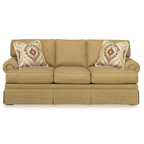 Craftmaster 937700 Traditional Skirted Sofa with Rolled Arms