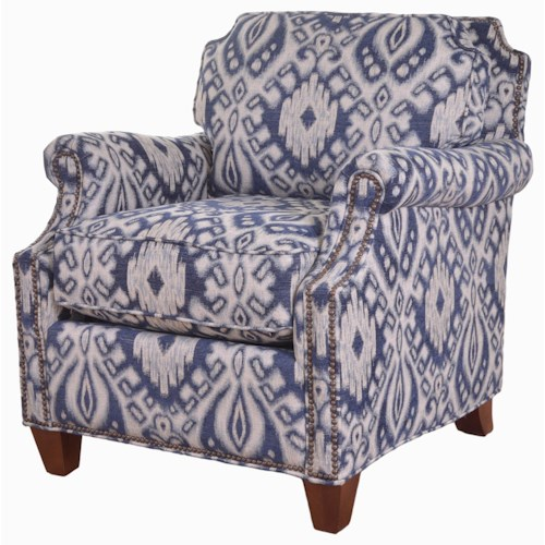 Craftmaster Reed Transitional Chair with Clipped Corner Shape and Nailhead Trim