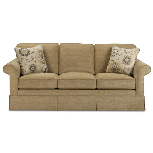 Craftmaster 943800 Traditional Sleeper Sofa with Kick Pleat Skirt