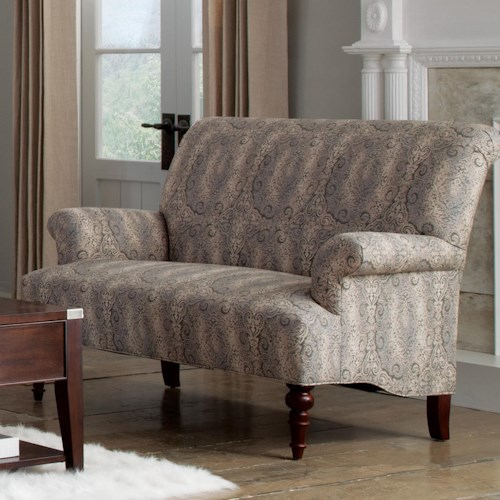 Cozy Life Accent Chairs Traditional Settee with Rolled Arms and Turned Wood Legs