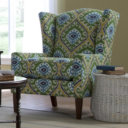 Craftmaster Accent Chairs Transitional Wing Chair with Wide Flared Wings