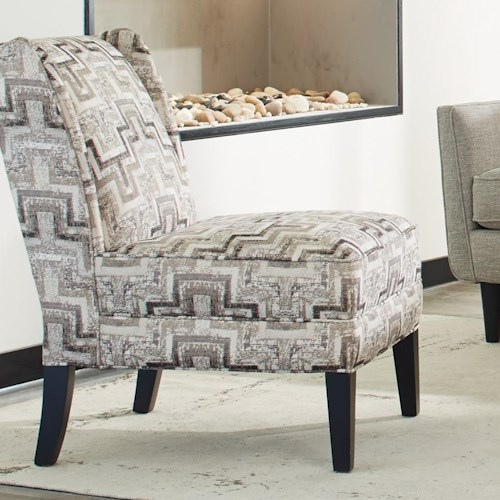 Craftmaster Accent Chairs Contemporary Armless Chair with Modified Wing Back