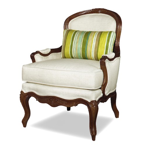 Cozy Life Accent Chairs Traditional Exposed Wood Accent Chair with Queen Anne Legs
