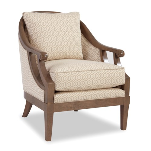 Craftmaster Accent Chairs Traditional Wood-Framed Accent Chair with Scroll Arms