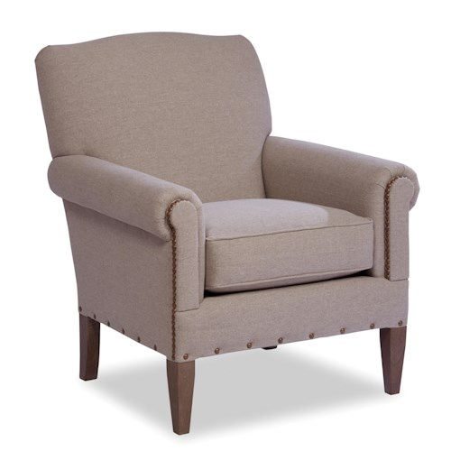 Craftmaster Accent Chairs Camelback Accent Chair with Two Patterns of Nailhead