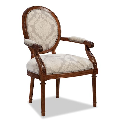 Cozy Life Accent Chairs Traditional Oval-Backed Chair with Exposed Wood Frame