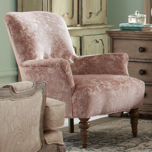 Craftmaster Accent Chairs Traditional Accent Chair with Turned Legs and Buttons