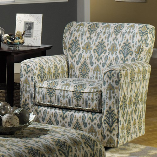 Craftmaster Accent Chairs Contemporary Upholstered Swivel Chair with Flared Arms and Welt Cord Trim
