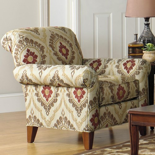 Cozy Life Accent Chairs Contemporary Scroll Back Chair with Tapered Feet