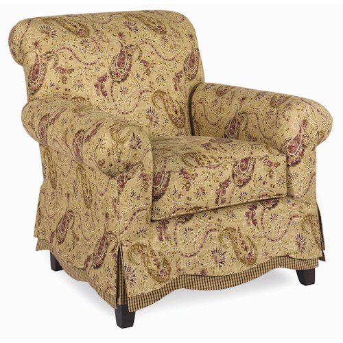 Cozy Life Accent Chairs Upholstered Arm Chair with Semi-Skirted Base