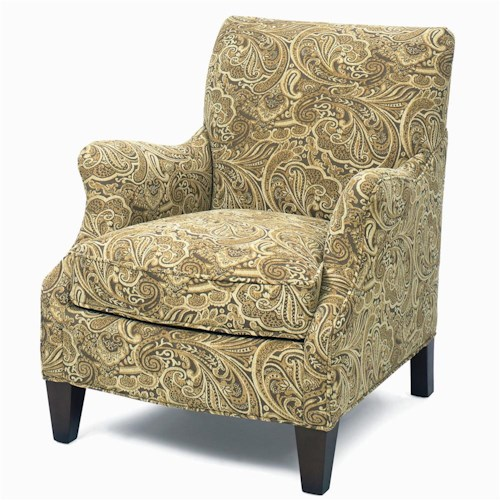 Craftmaster Accent Chairs Upholstered Accent Chair with Exposed Wood Feet and Cushioned Seat