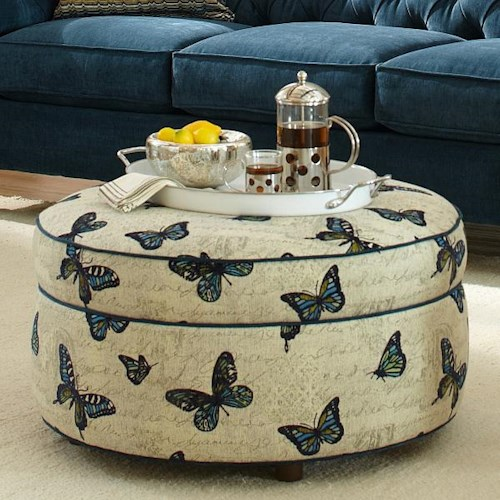 Craftmaster Accent Ottomans Round Ottoman with Small Wood Feet