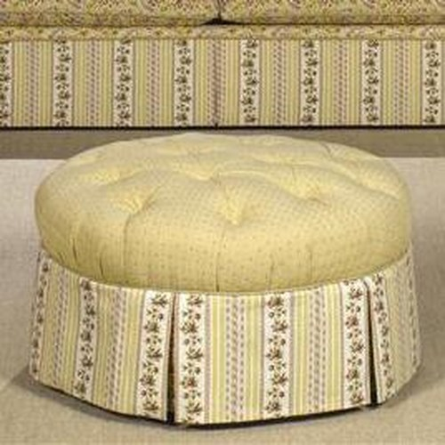 Cozy Life Accent Ottomans Round Tufted Ottoman with Skirt