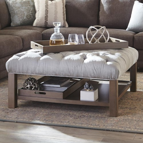 Cozy Life Accent Ottomans Cocktail Ottoman with Button-Tufting and Storage Trays