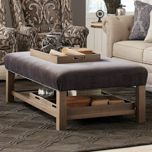 Craftmaster Accent Ottomans Contemporary Storage Bench Ottoman with Three Storage Trays