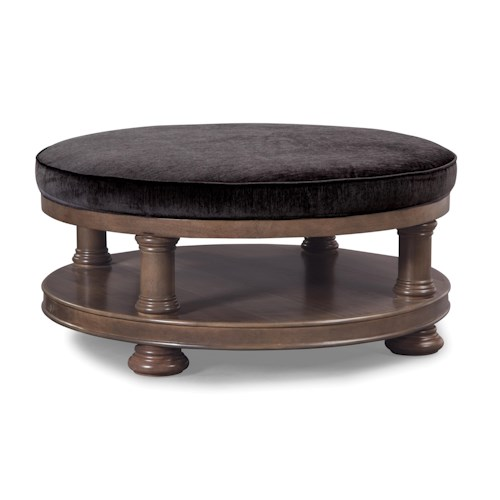 Cozy Life Accent Ottomans Cocktail Ottoman with Exposed Wood Base Shelf