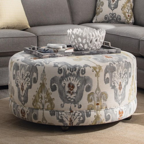 Craftmaster Accent Ottomans Round Contemporary Ottoman with Casters