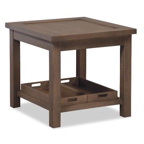 Cozy Life Craftmaster Accent Tables End Table with Two Removable Storage Trays