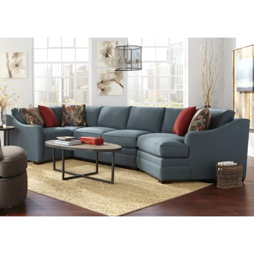 Craftmaster F9 Design Options Four Piece <b>Customizable</b> Sectional Sofa with RAF Cuddler
