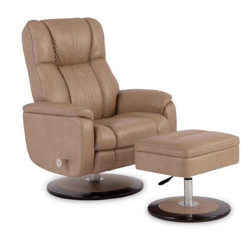 Craftmaster L0472 Leather Reclining Chair with Flip-Top Table Ottoman