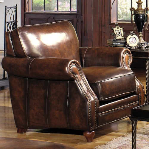 Craftmaster L121500 Traditional Leather Stationary Chair with Rolled Arms and Nailhead Trim