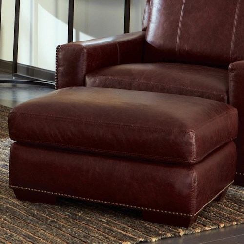Craftmaster L143300 Contemporary Ottoman with Nailhead Studs