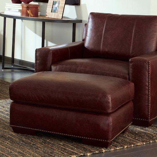 Craftmaster L143300 Contemporary Chair and Ottoman Set with Full Nailhead Stud Border