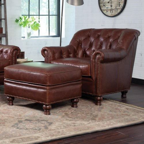 Craftmaster L152350 Traditional Chair and Ottoman Set with Nailhead Trim