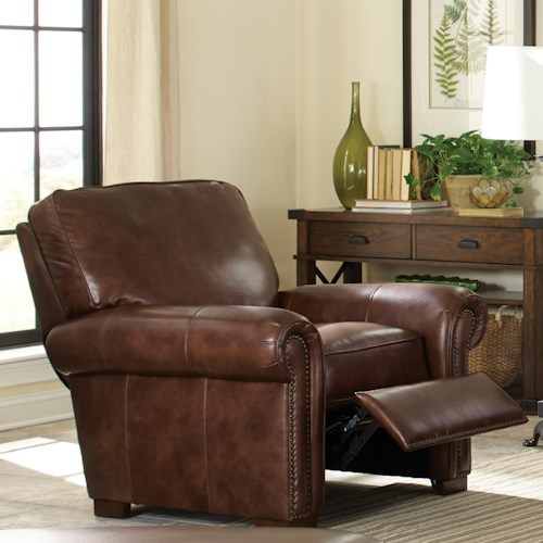Craftmaster L154350      Leather High Leg Recliner with Rolled Arms and Nailheads